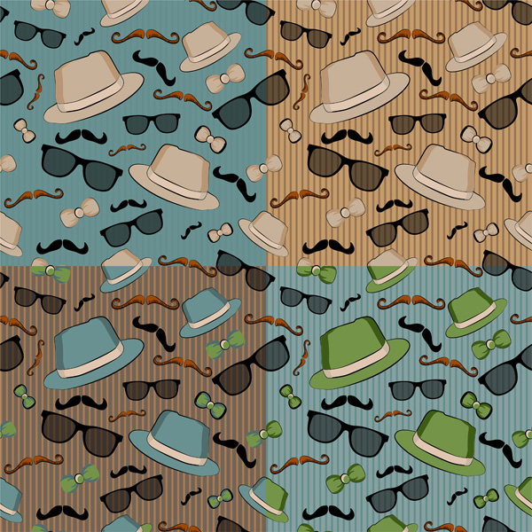 Set of four seamless backgrounds with retro dandy elements