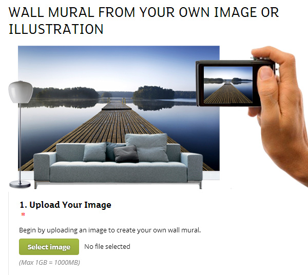 Create wall murals and canvas prints using your own images or