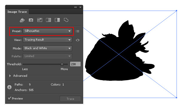 "The new preset, ""Silhouettes"" allows quick creation of vector silhouettes."