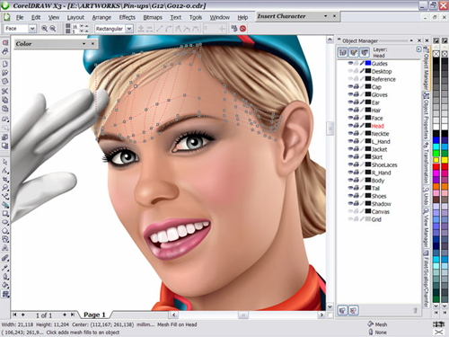 Drawing Lines In Coreldraw : How to master the mesh fill tool or create flight attendant in pin
