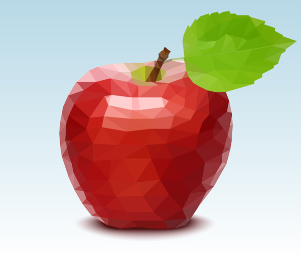 polygonal mosaic, vector apple