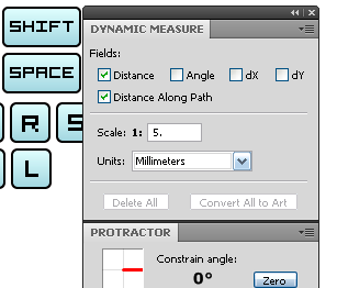 Shortcuts for VectorScribe (Dynamic Measure Tool and Protractor)