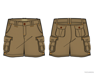Free Men Cargo Shorts Vector Template from VecFashion.com